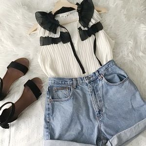 Off White and Black Ruffle Top // BR